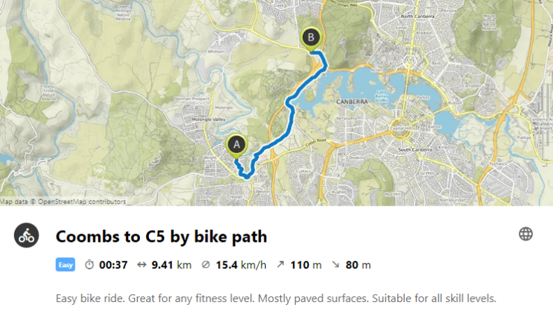 Coombs to C5 by bike path. Map: Leaflet, © Komoot, Map data © OpenStreetMap contributors