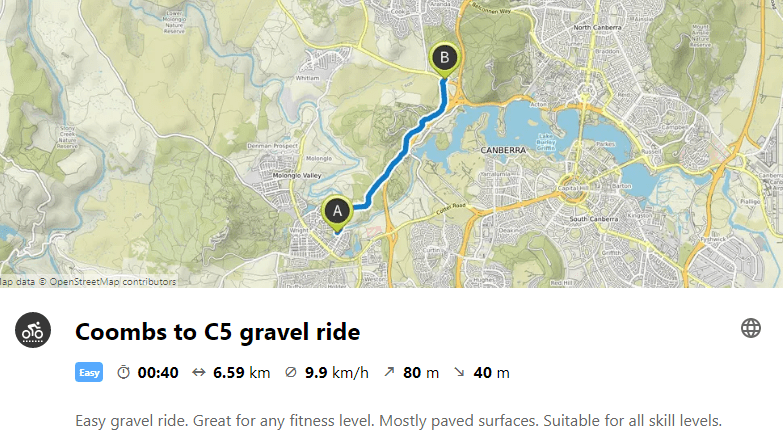 Coombs to C5 gravel ride. Map: Leaflet, © Komoot, Map data © OpenStreetMap contributors