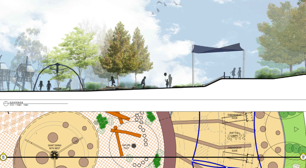 Playground, New park in Whitlam. Tender SL200309, Project Whitlam Stage 2D 17-1289, File 17-1289 2D-L503 SECTIONS AND IMAGERY