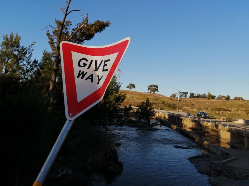 Coppins Crossing after reconstruction, Molonglo River, 2 April 2021