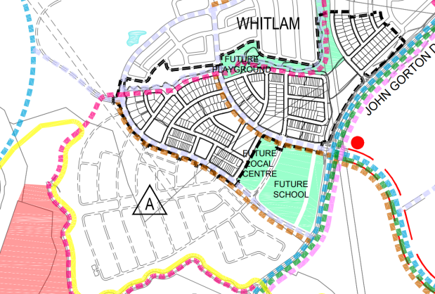 Active Travel Network Existing and Future Plan, Whitlam Stage 2 DA ATRA, PLAN-201936061-ACTIVE_TRAVEL_NETWORK-01
