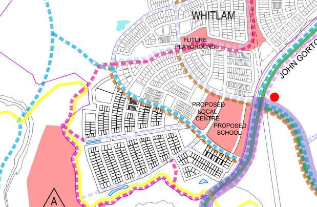 Active Travel Network Existing and Future Plan, Whitlam Stage 3 DA, SUPP-202038138-ACTIVE_TRAVEL_NETWORK-01