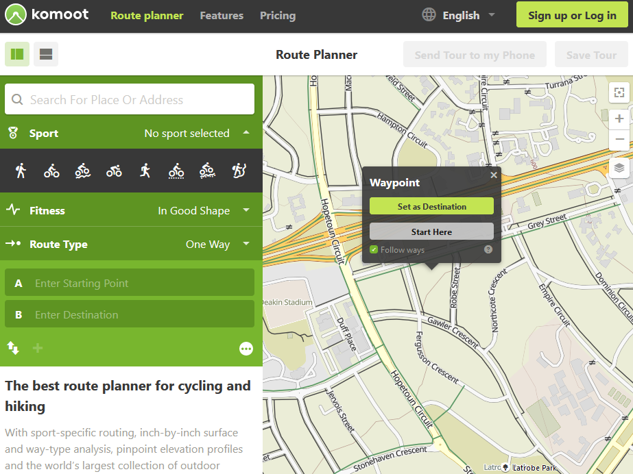 Komoot route planner with OpenStreetMap showing community paths in green and black.