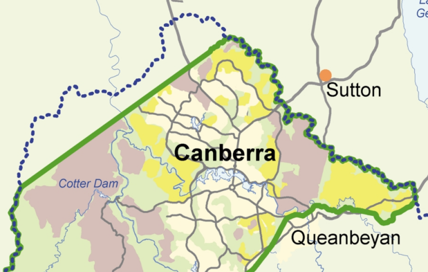 map 2 Future urban (yellow) and water catchment (dotted blue)