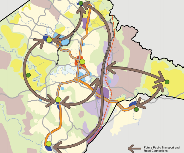 map 8 future public transport and road connections