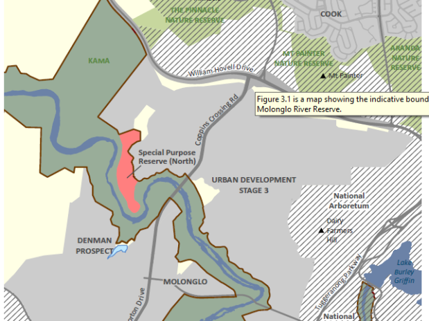 East side, boundaries and public overlays, Molonglo River Reserve Management Plan, page 35