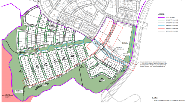 Sculthorpe Aveneue in Whitlam Stage 3, ROADDETAILS-202038138-SPECIAL_ROAD_FEATURES-01, development application, 2021.