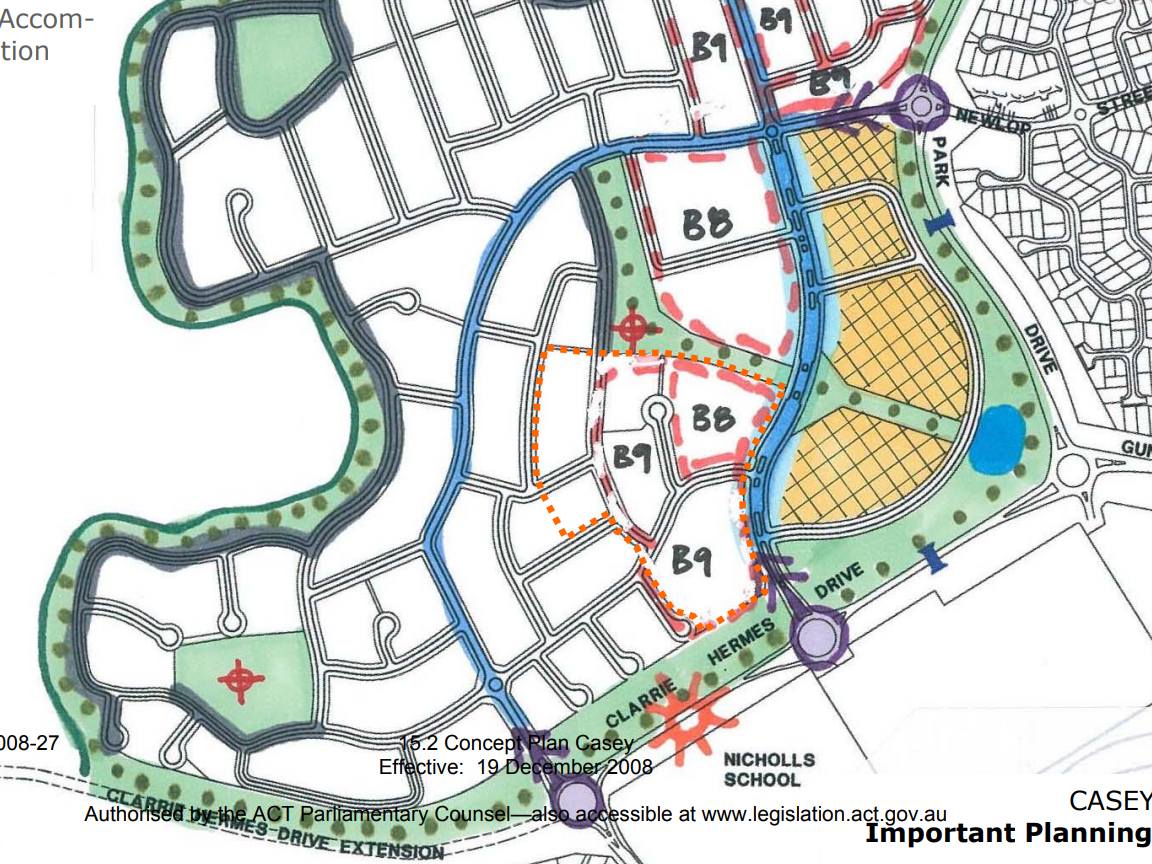 Casey Concept plan showing cycling path around the edge. Casey Concept Plan. Territory Plan, page 37