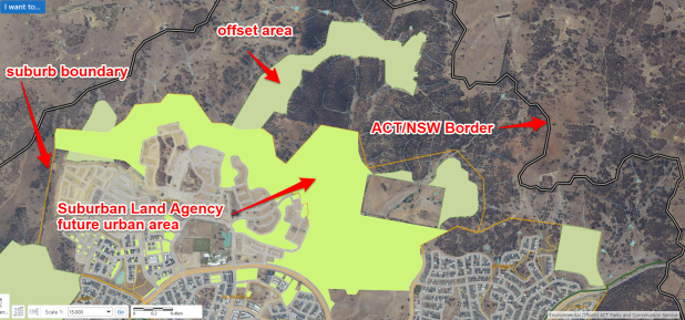 Environmental offsets and Suburban Land Agency (SLA) areas are often side-by-side. Screenshot from ACTmapi with SLA and offset areas labelled.
