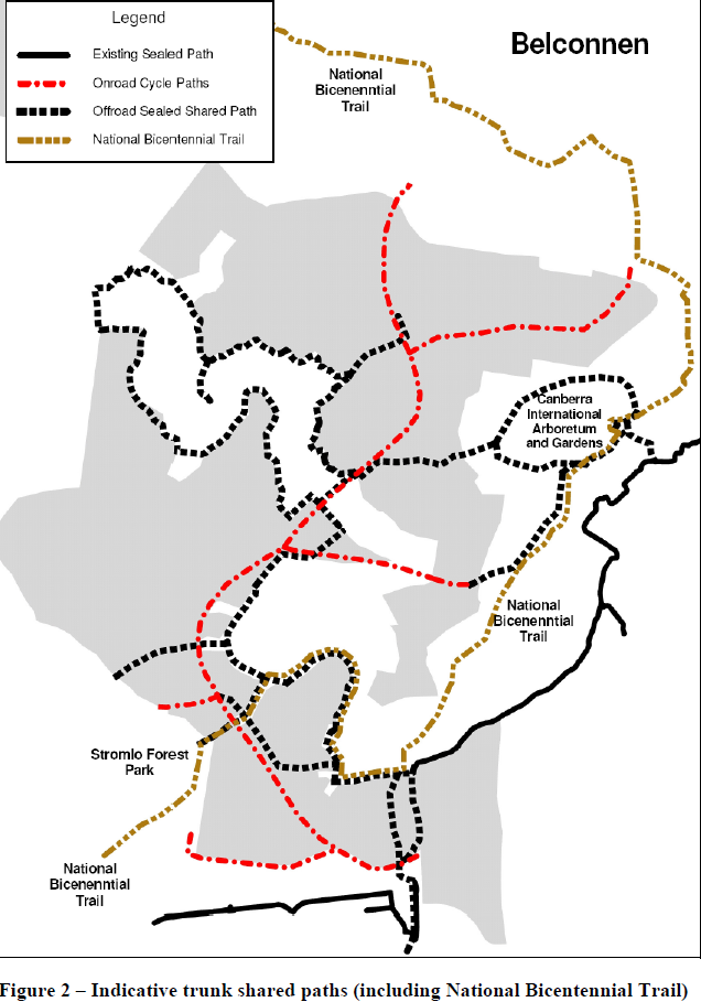 Indicative truck shared paths 26 May 2017. Structure Plan Molonglo and North Weston, effective 25 May 2017