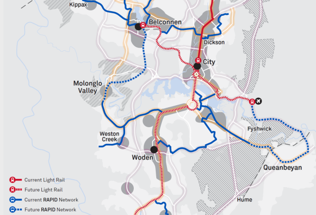 Map 2 ACT Transport Strategy - Central links and public transport network
