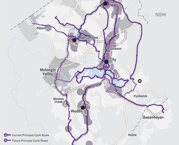 Map 3 ACT Transport Strategy - Local links, cycling network and walkable places