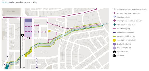 Map 13 Dickson node Framework Plan. City And Gateway Urban Design Framework, December 2018