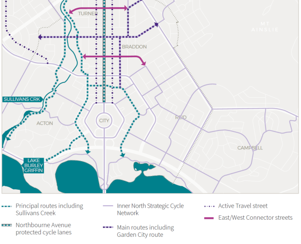 Map 16 Inner North cycle network and key City and Gateway routes, City And Gateway Urban Design Framework, December 2018