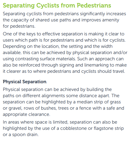 Separating cyclists from pedestrians, VicRoads Cycle Notes 21, Widths of Off-Road Shared Use Paths, August 2013, part A