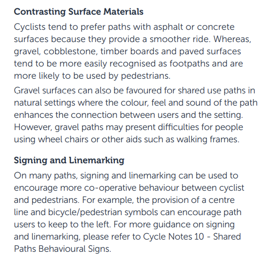 Separating cyclists from pedestrians, VicRoads Cycle Notes 21, Widths of Off-Road Shared Use Paths, August 2013, part B