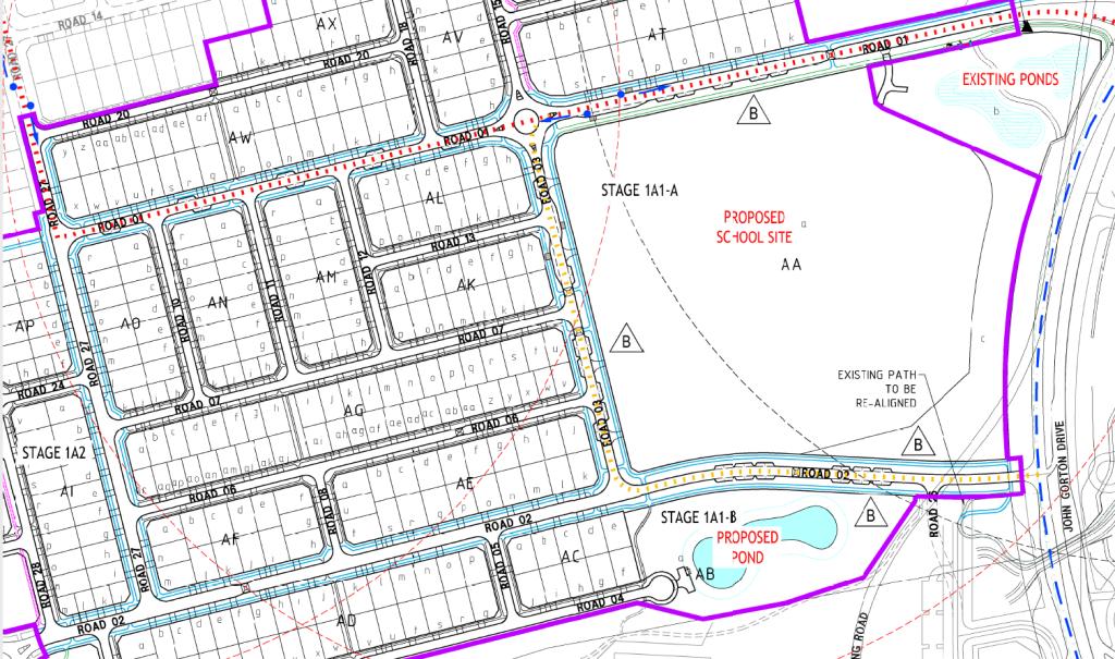 Path widths (concrete) by colour: 1.5m black, 2m purple, 2.5m blue, 3.0m green. Community paths widths, Denman Prospect Stage 1A, Denman Prospect, Molonglo Valley. FOI 21-101215 EPSDD 21-101215 Molonglo Stage 2 Transport Planning, 1 April 2021.