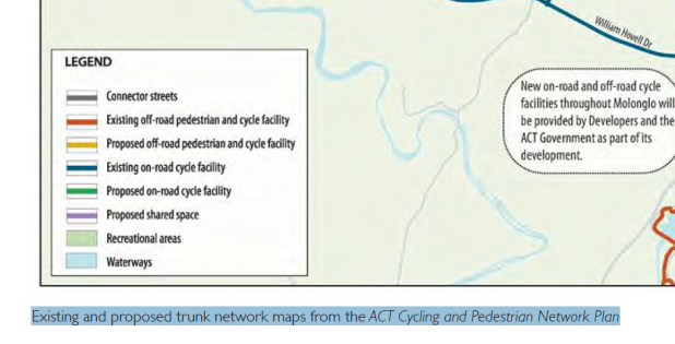 existing and proposed trunk network maps from the ACT Cycling and Pedestrian Network Plan