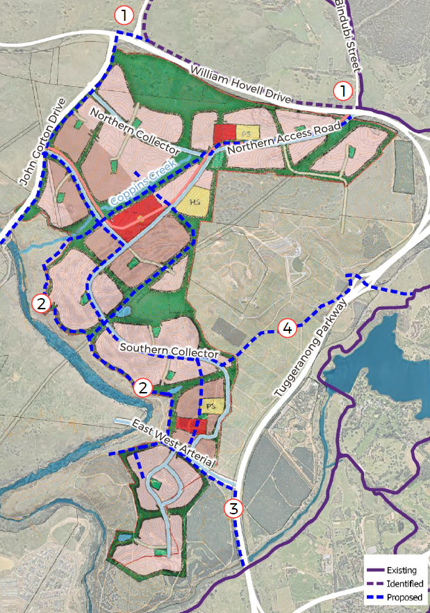 Figure 11 cycling network , Appendix C - WSP, Options Report, Molonglo 3 East Planning and Infrastructure Study, July 2020, 27.
