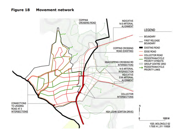 Figure 18 movement network, Molonglo Valley Stage 2, Molonglo Valley Planning Design Framework, August 2011. FOI 21-101215 EPSDD 21-101215 Molonglo Stage 2 Transport Planning, 1 April 2021.