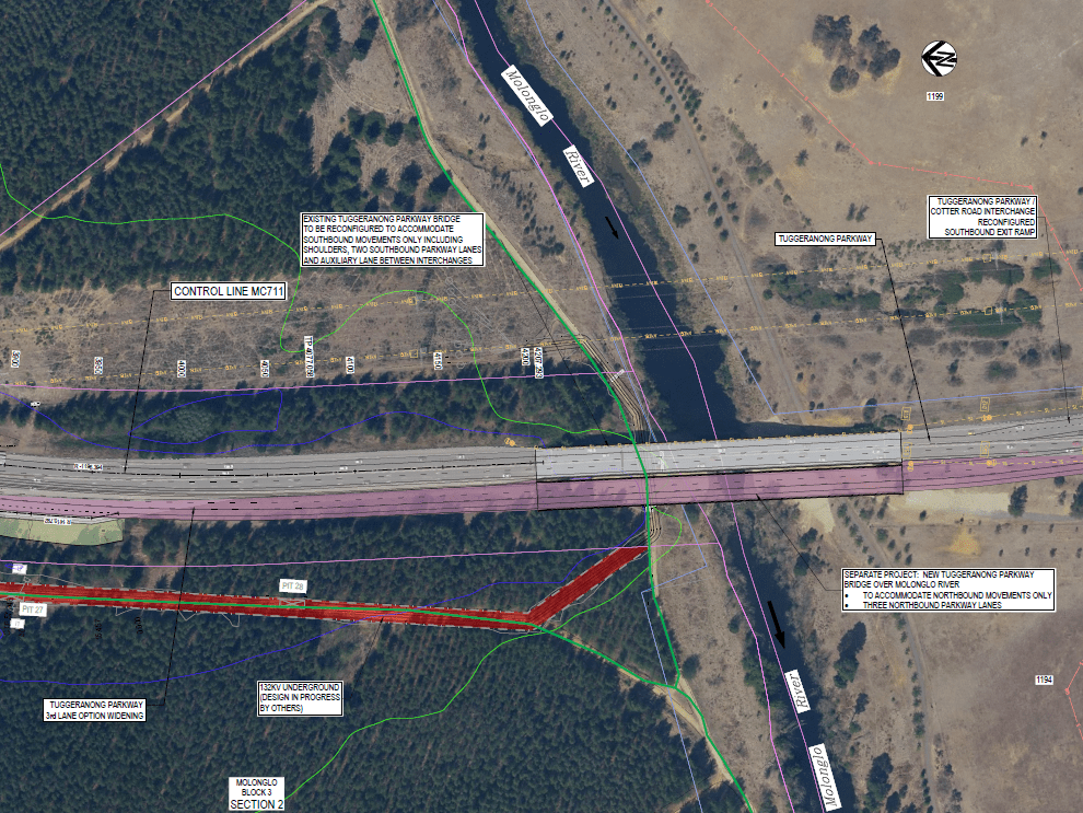 The second, new Tuggeranong Parkway bridge, built beside the old to provide a merging lane between the East West Arterial Interchange and Cotter Road Interchange. Appendix A - Design Sketches -EWA, sheet. 7.