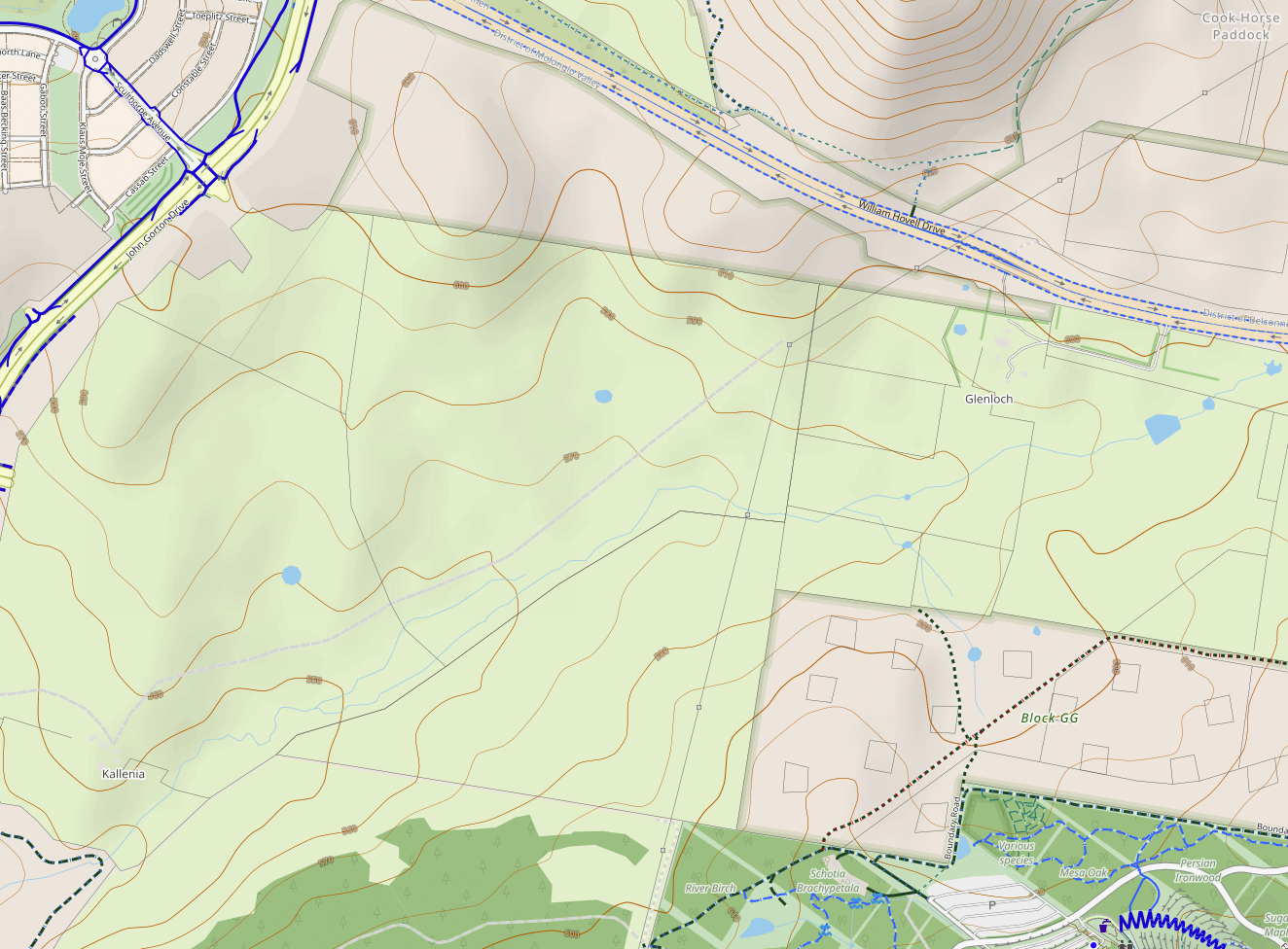 Topographic map of Molonglo 3 East. Map: Cyclosm Data: OpenStreetMap and contribtors.