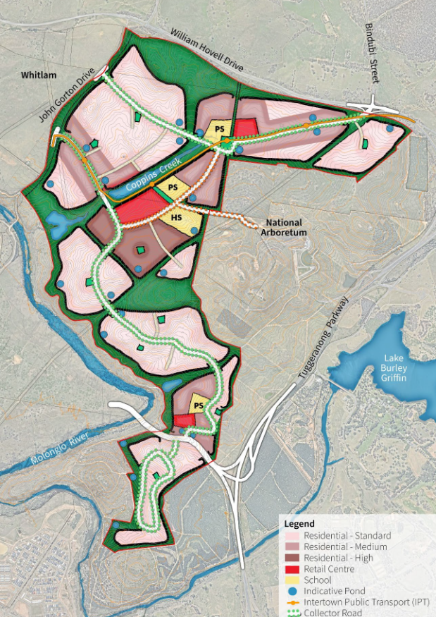 Figure 6.6 Design Concept Plan, WSP, Outcomes Report, Molonglo 3 East Planning and Infrastructure Study, March 2021, 32
